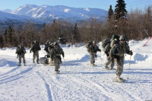 U.S. Soldiers training during the Cold Weather Orientation Course near Fort Greely, Alaska, March 27, 2013. Author: SSG Michael O'Brien