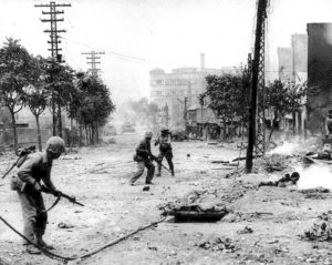 U.S. Marines engaged in urban warfare during the battle for Seoul in late September 1950. Public Domain, Department of the Navy